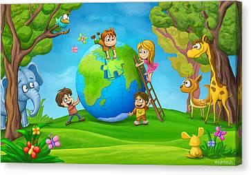 Puzzle World Canvas Print by Tooshtoosh