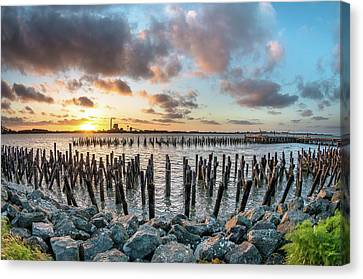 Canvas Print featuring the photograph Pylons Mill Sunset by Greg Nyquist