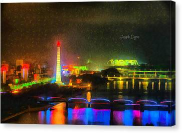 Pyongyang Night Scene Canvas Print