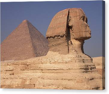 Pyramid And Sphinx Canvas Print by Mary Lane