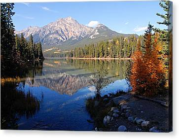Pyramid Moutain Reflection Canvas Print by Larry Ricker