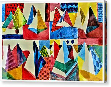 Canvas Print featuring the digital art Pyramid Play by Mindy Newman