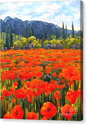 Pyrenees Poppies Canvas Print by Diane Daigle