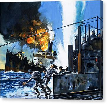 Q Ships During World War One Canvas Print by Wilf Hardy