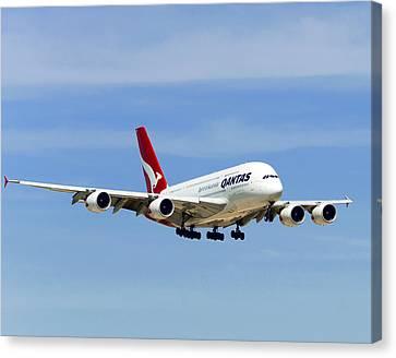 Qantas A380 Airbus V3 Canvas Print by Rospotte Photography