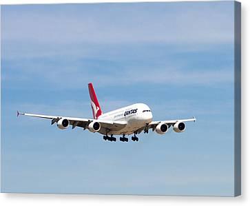 Qantas A380 Airbus V7 Canvas Print by Rospotte Photography