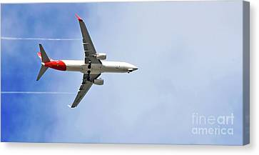 Qantas In Flight Canvas Print by Kaye Menner