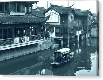 Junk Canvas Print - Qibao Ancient Town - A Peek Into The Past Of Shanghai by Christine Till