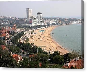 China Cove Canvas Print - Qingdao Beach With Skyline by Carol Groenen