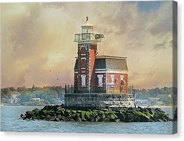 Quaint Stepping Stones Lighthouse Canvas Print by Diana Angstadt