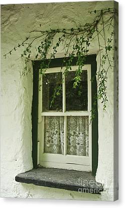 Quaint Window In Ireland Canvas Print by Christine Amstutz