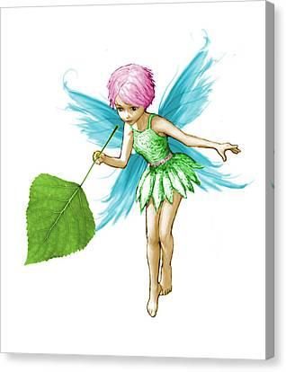 Quaking Aspen Tree Fairy Holding Leaf Canvas Print