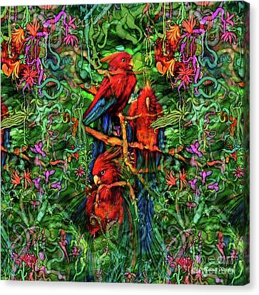 Canvas Print featuring the digital art Qualia's Parrots by Russell Kightley
