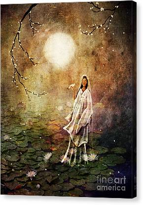 Quan Yin In A Lotus Pond Canvas Print by Laura Iverson
