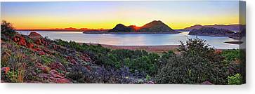 Quartz Mountains And Lake Altus Panorama - Oklahoma Canvas Print by Jason Politte