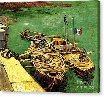 Quay With Men Unloading Sand Barges Canvas Print