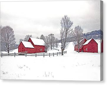 Quechee Barns In Winter Canvas Print