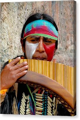 Quechuan Pan Flute Player Canvas Print