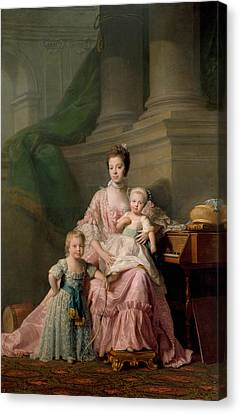 Charlotte Canvas Print - Queen Charlotte With Her Two Eldest Sons by Allan Ramsay