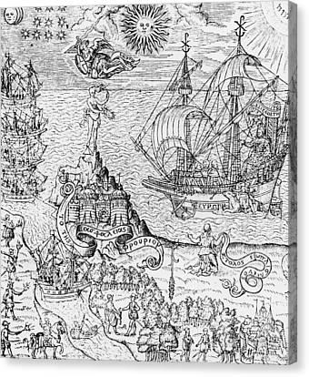 Queen Elizabeth I On Board A Ship Canvas Print by English School
