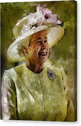 Queen Elizabeth II By Mb Canvas Print by Mary Bassett
