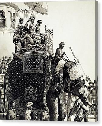 Queen Elizabeth II On An Elephant Canvas Print