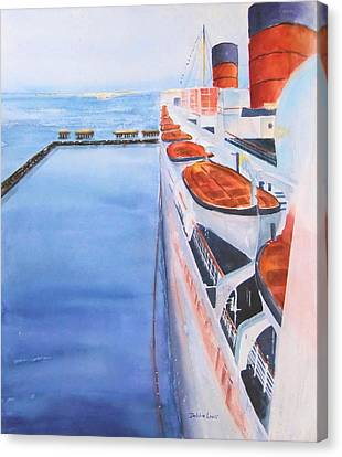 Queen Mary From The Bridge Canvas Print by Debbie Lewis