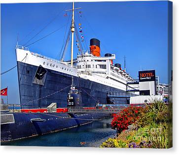 Canvas Print featuring the photograph Queen Mary Ship by Mariola Bitner