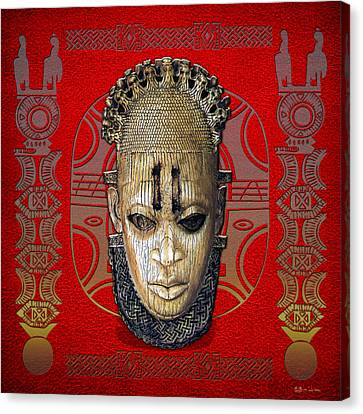 Queen Mother Idia - Ivory Hip Pendant Mask - Nigeria - Edo Peoples - Court Of Benin On Red Leather Canvas Print by Serge Averbukh