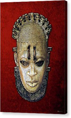 Canvas Print featuring the digital art Queen Mother Idia - Ivory Hip Pendant Mask - Nigeria - Edo Peoples - Court Of Benin On Red Velvet by Serge Averbukh