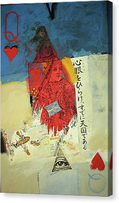Canvas Print featuring the mixed media Queen Of Hearts 40-52 by Cliff Spohn