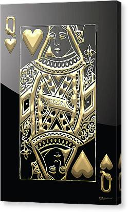 Canvas Print featuring the digital art Queen Of Hearts In Gold On Black by Serge Averbukh
