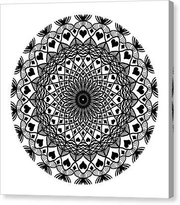 Queen Of Hearts King Of Diamonds Mandala Canvas Print