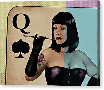 Queen Of Spades Canvas Print by Udo Linke
