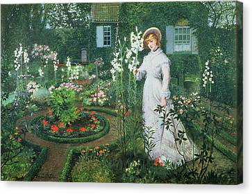 Queen Of The Lilies Canvas Print by John Atkinson Grimshaw
