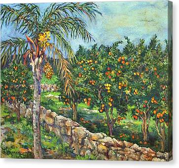 Queen Palm And Oranges Canvas Print by Lily Hymen