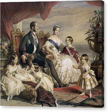 Queen Victoria And Prince Albert With Five Of The Their Children Canvas Print
