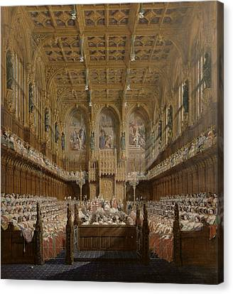 Queen Victoria In The House Of Lords Canvas Print by Joseph Nash