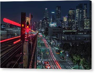 Canvas Print featuring the photograph Queens 7 Train And Nyc Skyline by Susan Candelario