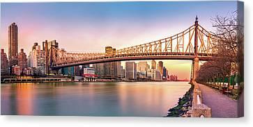 Canvas Print featuring the photograph Queensboro Bridge At Sunset by Mihai Andritoiu