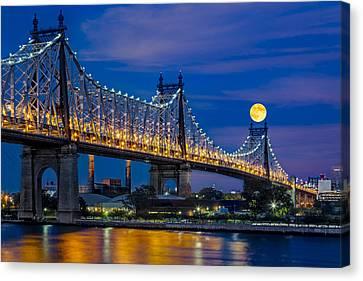 Queensboro Ed Koch Bridge Full Moon Canvas Print by Susan Candelario