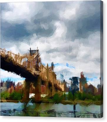 Times Square Canvas Print - Queensborough Bridge by H James Hoff