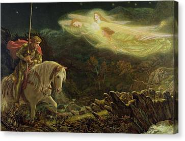 Male Angel Canvas Print featuring the painting Quest For The Holy Grail by Arthur Hughes