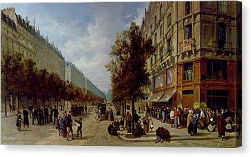 Queueing At The Door Of A Grocery Canvas Print by Jacques Guiad