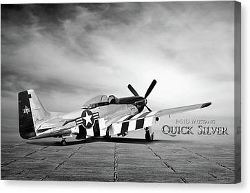 Vintage Air Planes Canvas Print - Quick Silver P-51  by Peter Chilelli