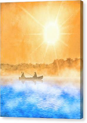 Canvas Print featuring the painting Quiet Moments - Fishing At Dawn by Mark Tisdale