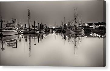 Quiet Reflection Black And White Canvas Print by Chris Frykberg