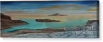 Canvas Print featuring the painting Quiet Tropical Waters by Rod Jellison