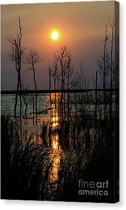 Quill Lake Smoke From A Distant Fire Canvas Print