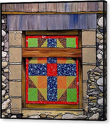 Quilted Basement Window Canvas Print by Jim Harris